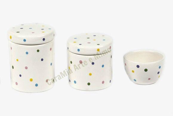 Kit Higiene Bebê Cerâmica Poá Colorido|3 peças
