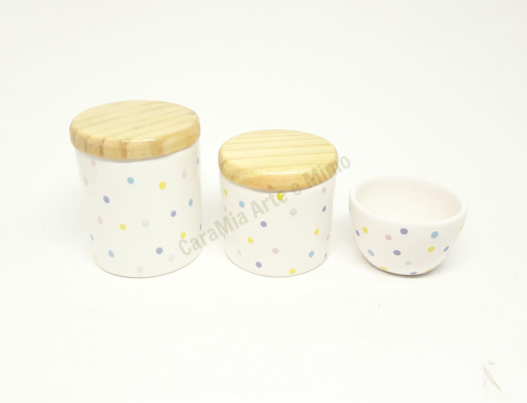 Kit Higiene Bebê Cerâmica | Poá Colorido | Tampas Madeira Pinus| 3 peças