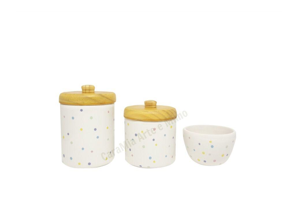 Kit Higiene Bebê Cerâmica Poá Colorido | Tampas Pinus