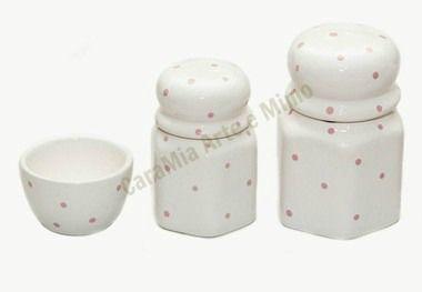 Kit Higiene Bebê Cerâmica| Poá Rosa Sextavado| 3 peças