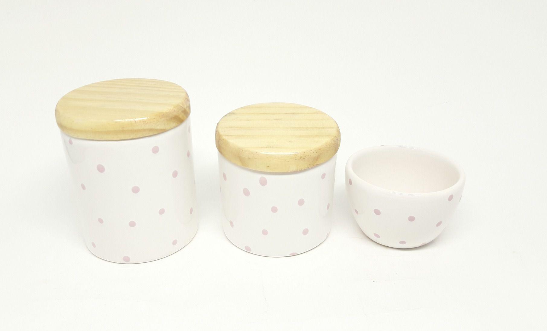 Kit Higiene Bebê Cerâmica | Poá Rosa | Tampas Madeira Natural Pinus