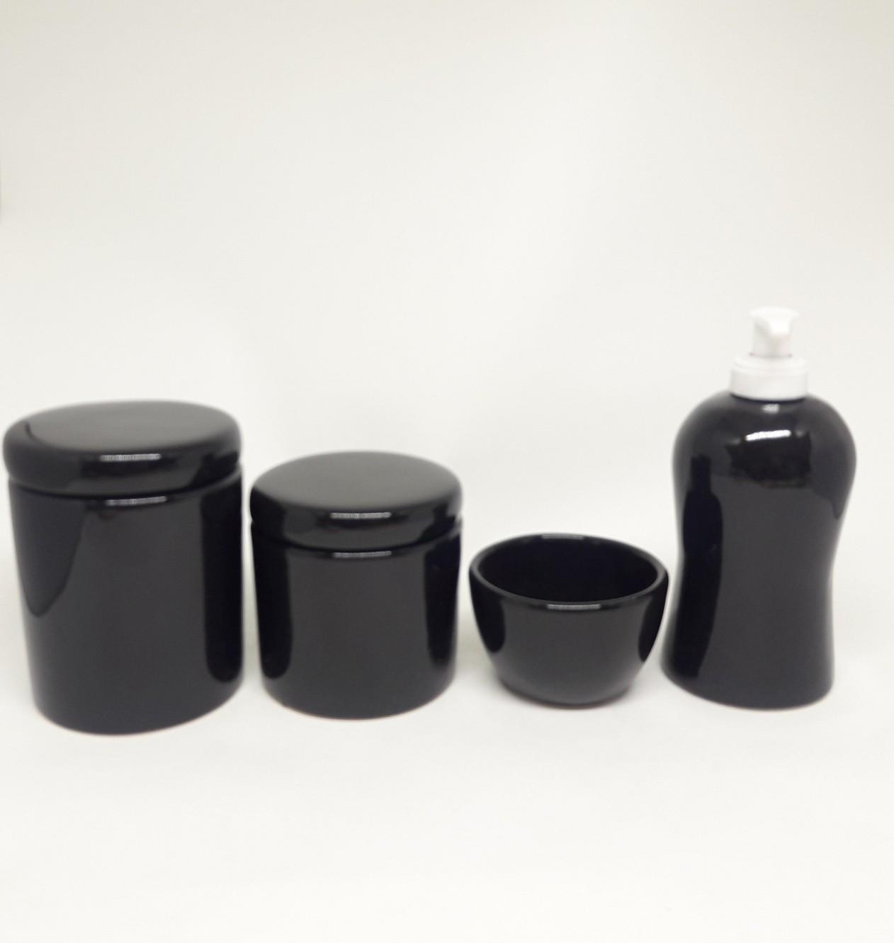 Kit Higiene Bebê Cerâmica Preto 4 peças