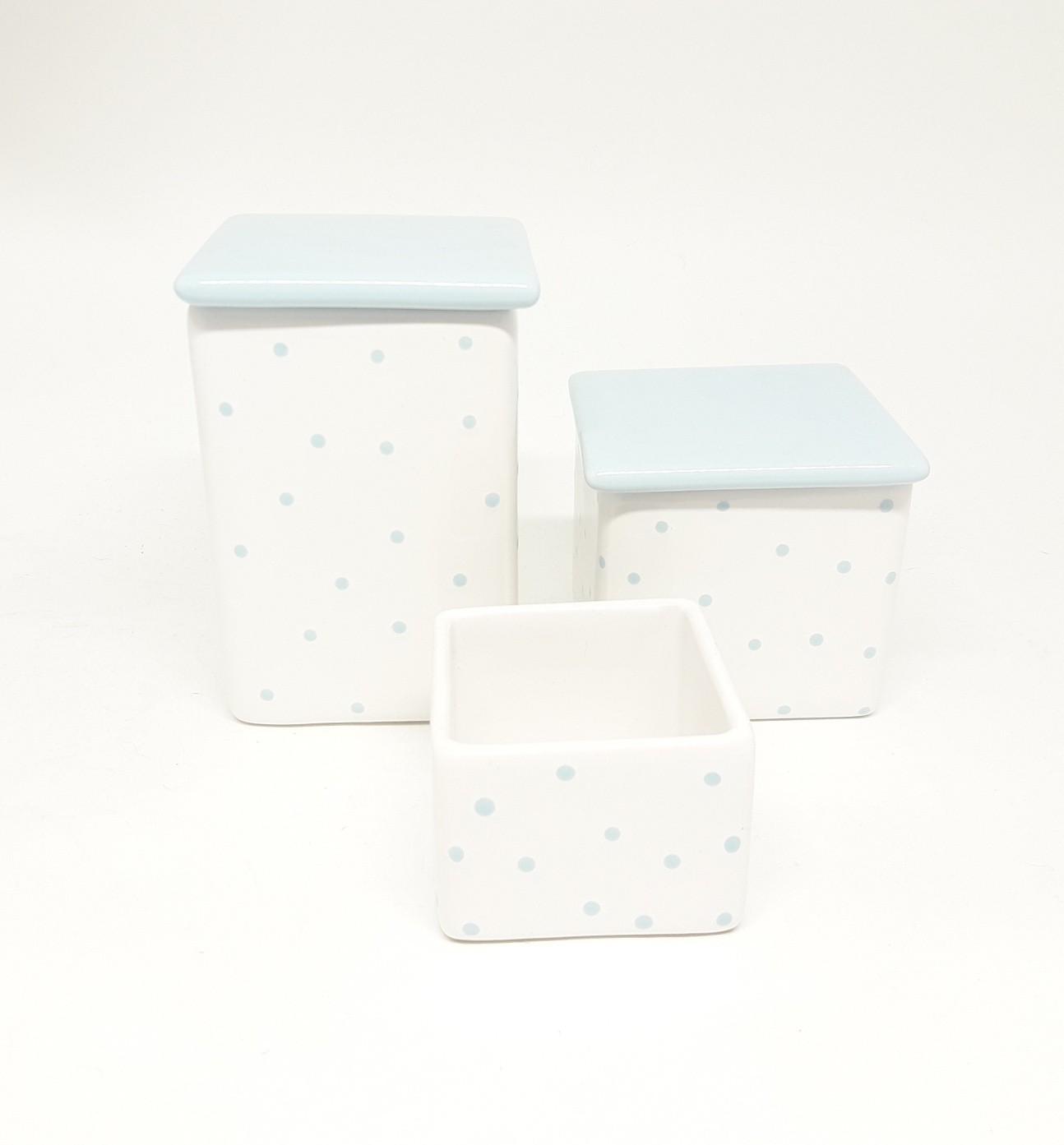 Kit Higiene Bebê Cerâmica quadrado com poa azul