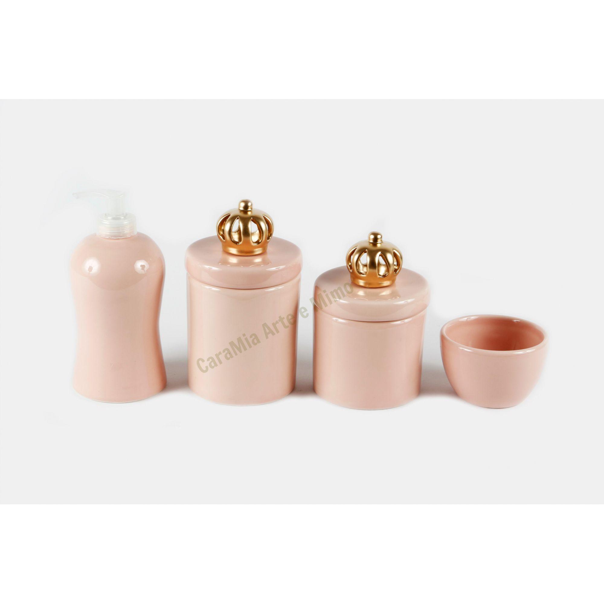 Kit Higiene Bebê Cerâmica Rosa Antigo |Rosê| 4 peças| Apliques de Coroa Dourada