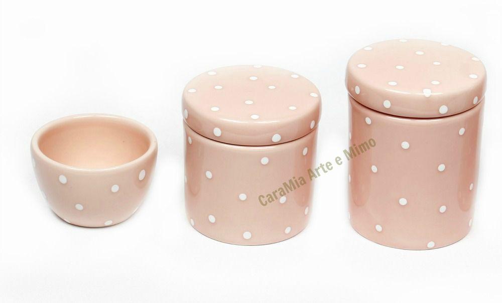 Kit Higiene Bebê Cerâmica | Rosa Antigo com Poá Branquinho| 3 Peças|Rosê|