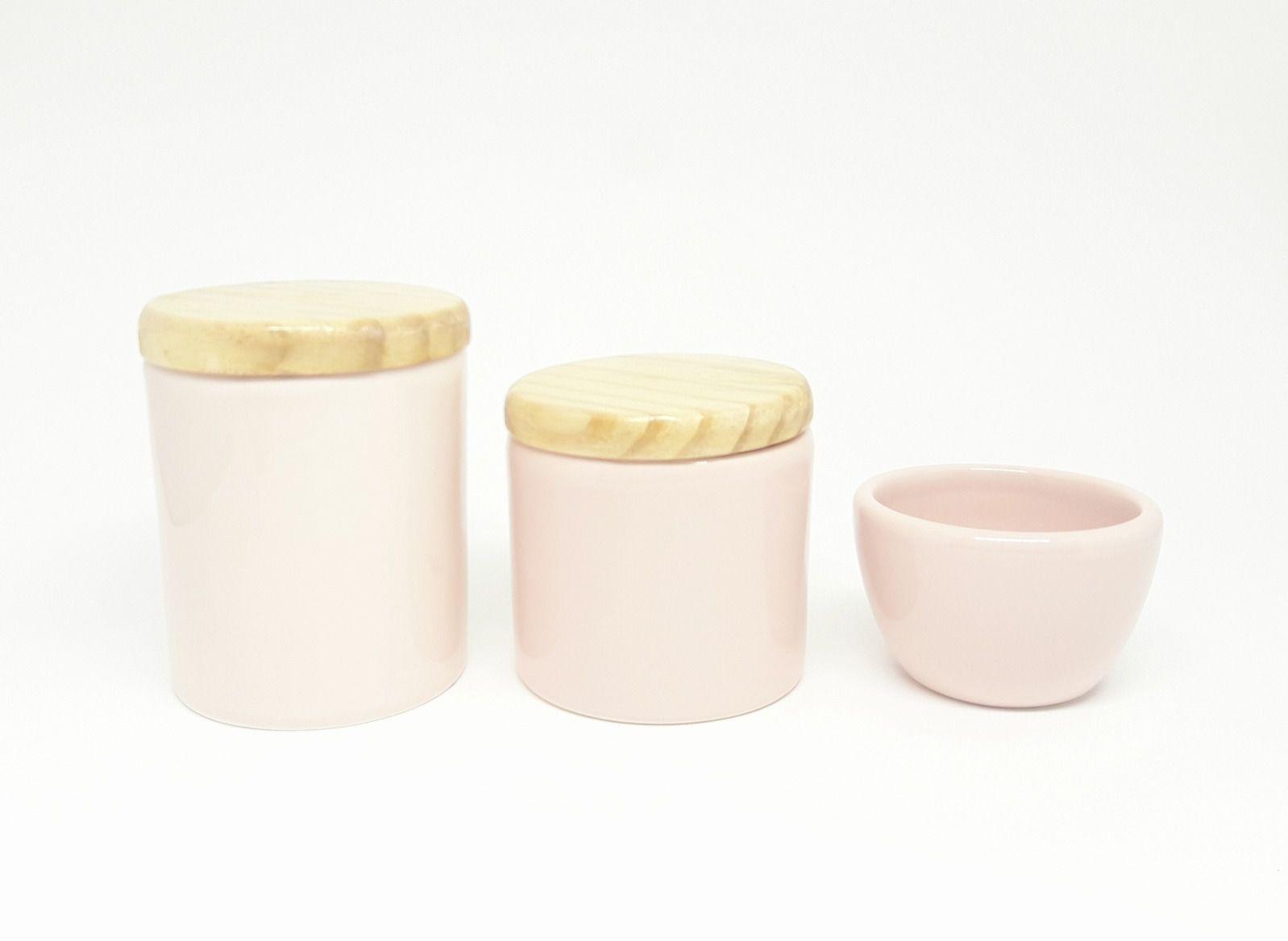 Kit Higiene Bebê Cerâmica | Rosa Antigo| Tampas Madeira Pinus Natural