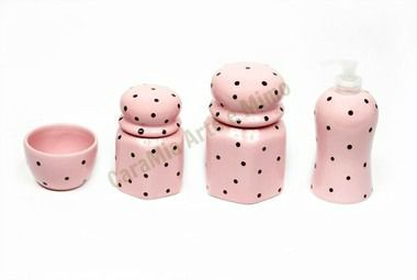 Kit Higiene Bebê Cerâmica |Rosa Bebê com poá chocolate | 4 peças