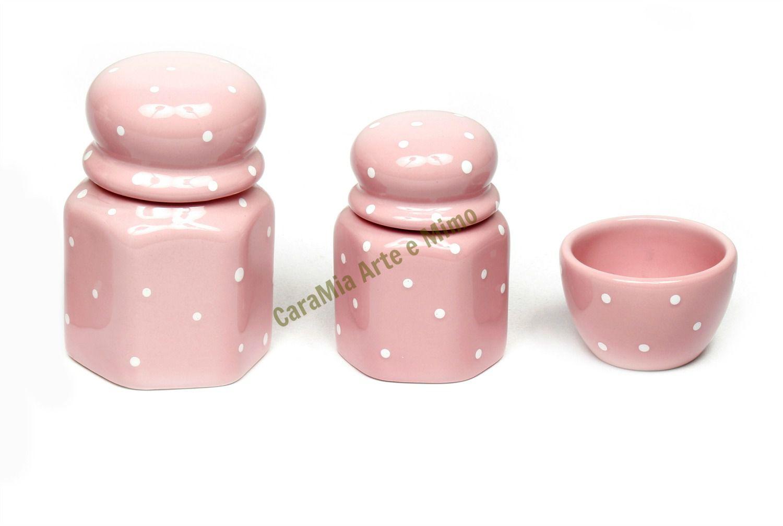 Kit Higiene Bebê Cerâmica| Rosa bebê com poá | Sextavado| 3 peças