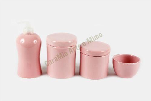 Kit Higiene Bebê Cerâmica | Rosa Bebê Liso | 4 peças