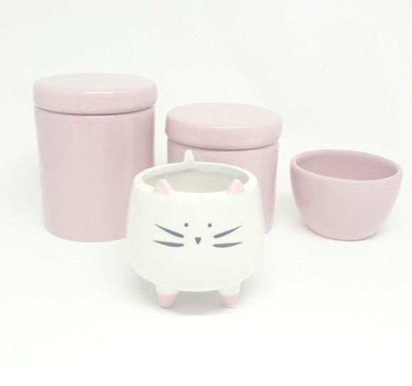 Kit Higiene Bebê Cerâmica Rosa com Cachepot