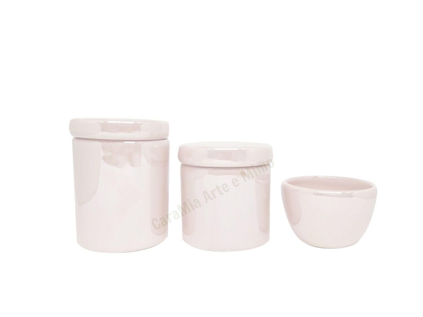 Kit Higiene Bebê Cerâmica | Rosa Perolizado | 3 peças