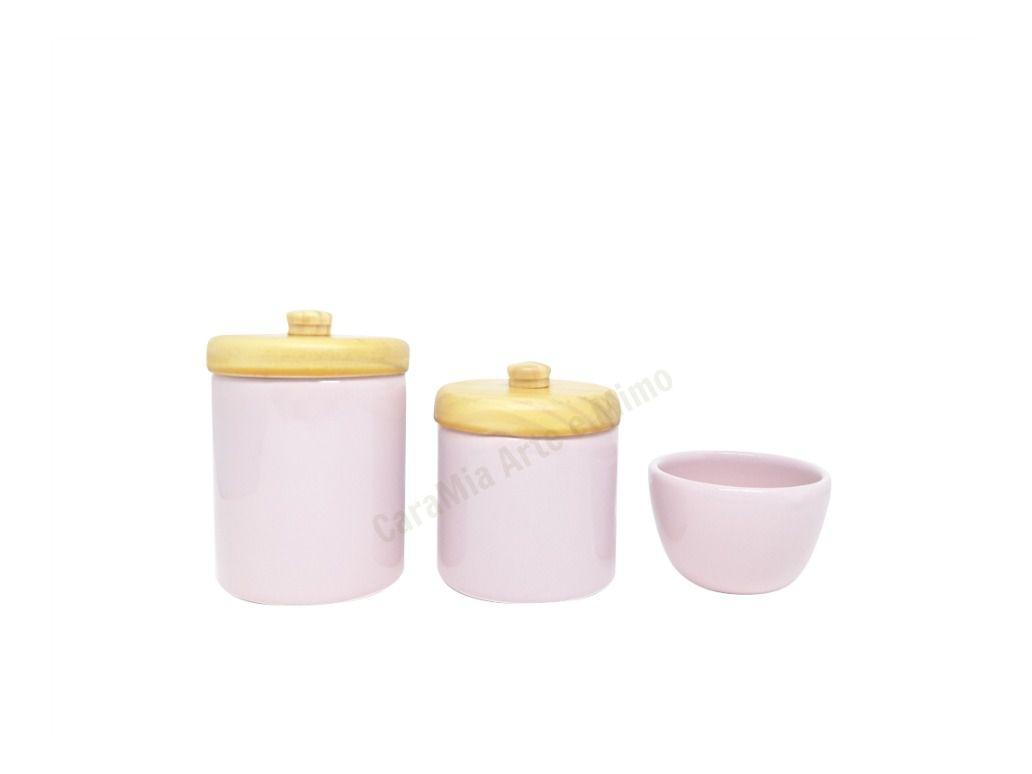 Kit Higiene Bebê Cerâmica Rosa| Tampas Pinus