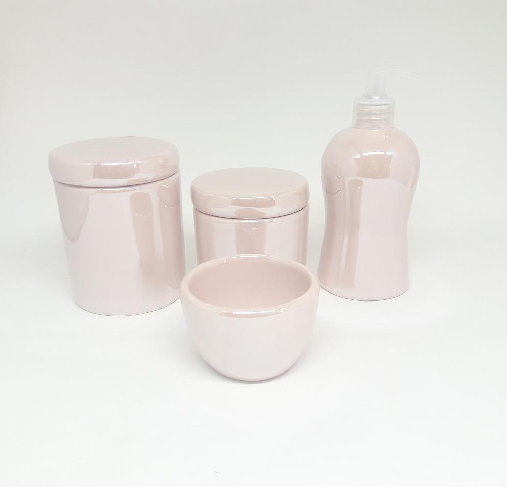 Kit Higiene Bebê Cerâmica Rosa Velho Perolado 4 peças