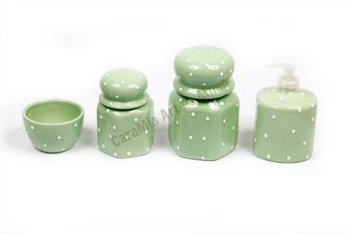 Kit Higiene Bebê Cerâmica | Sextavado| 4 peças  | Verde com Poá Branco