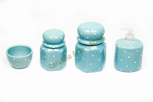 Kit Higiene Bebê Cerâmica Sextavado| Azul Antigo com poá branco| 4 peças