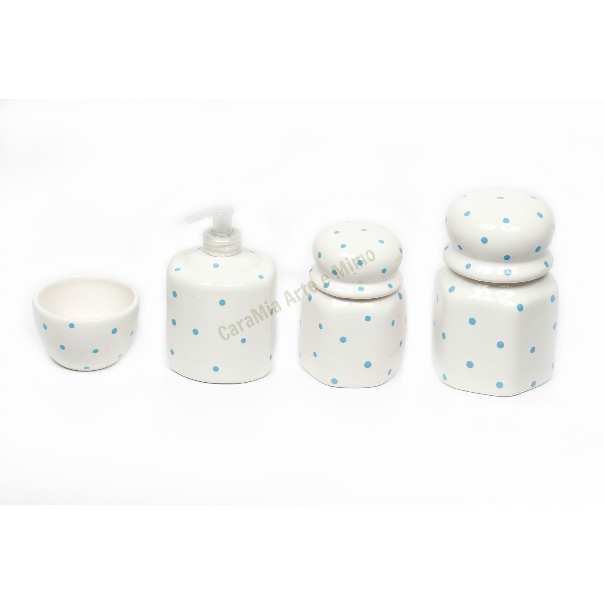Kit Higiene Bebê Cerâmica | Sextavado | Poá Azul | 4 peças