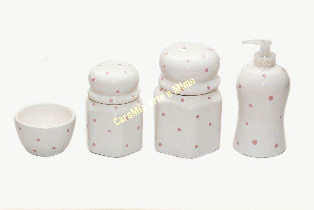 Kit Higiene Bebê Cerâmica Sextavado| Poá Rosa | 4 Peças
