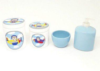 Kit Higiene Bebê Cerâmica | Urso & Ursinho Aviador