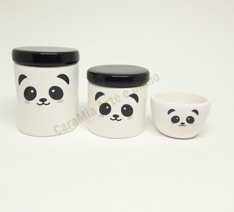 Kit Higiene Bebê Cerâmica Urso & Ursinho Panda | 3 peças| Escandinavo