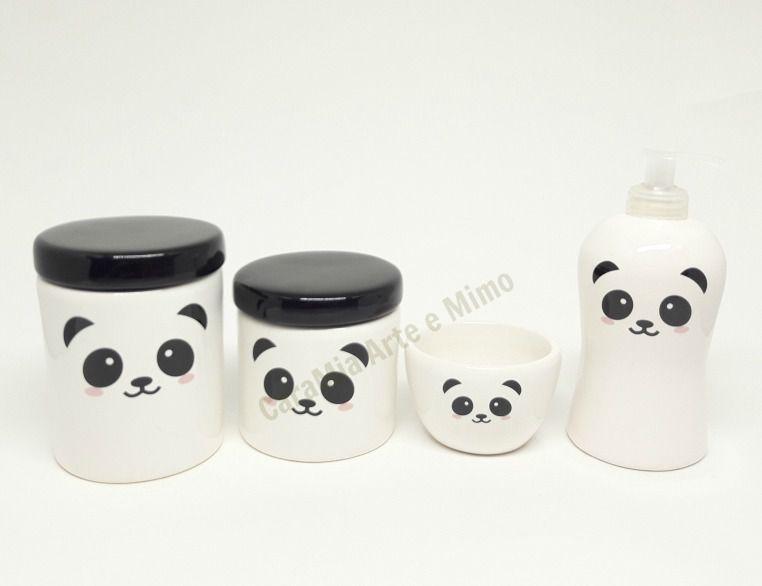 Kit Higiene Bebê Cerâmica | Urso & Ursinho Panda |4 peças| Escandinavo
