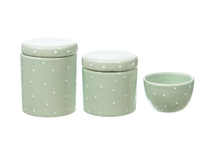 Kit Higiene Bebê Cerâmica Verde com Poa Branco 3 peças