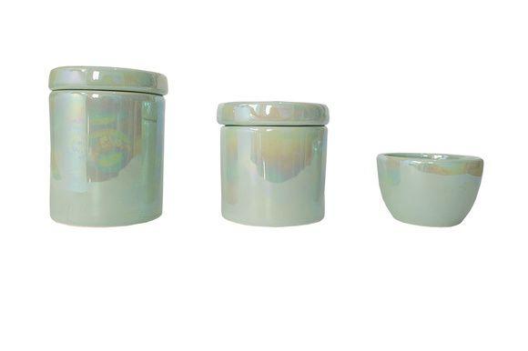 Kit Higiene Bebê Cerâmica | Verde Perolizado | 3 peças