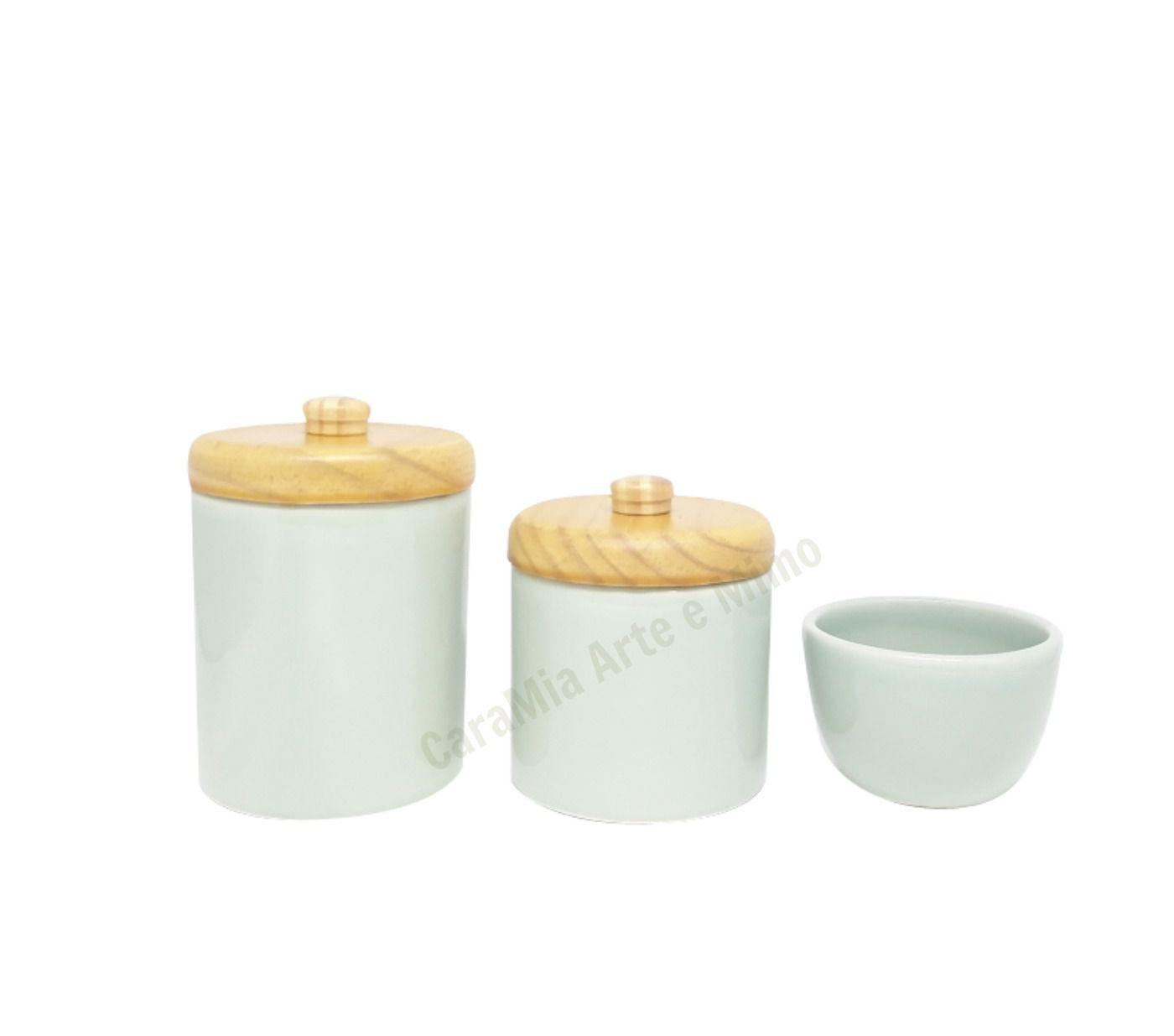 Kit Higiene Bebê Cerâmica Verde |Tampas Pinus