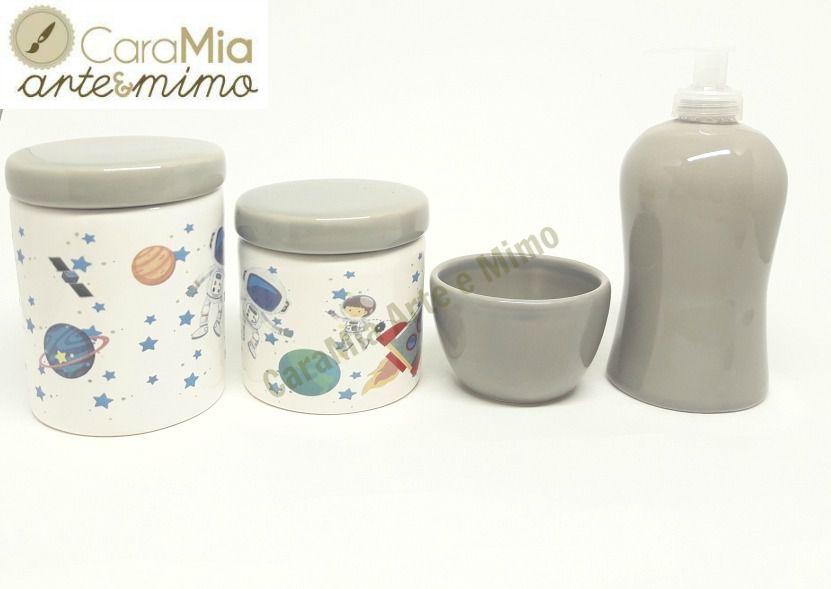 Kit Higiene Bebê em Cerâmica Astronauta Cinza |4 peças