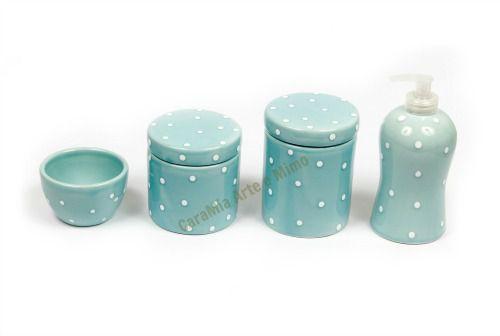 Kit Higiene Bebê em Cerâmica Azul Antigo e Poá | 4 peças