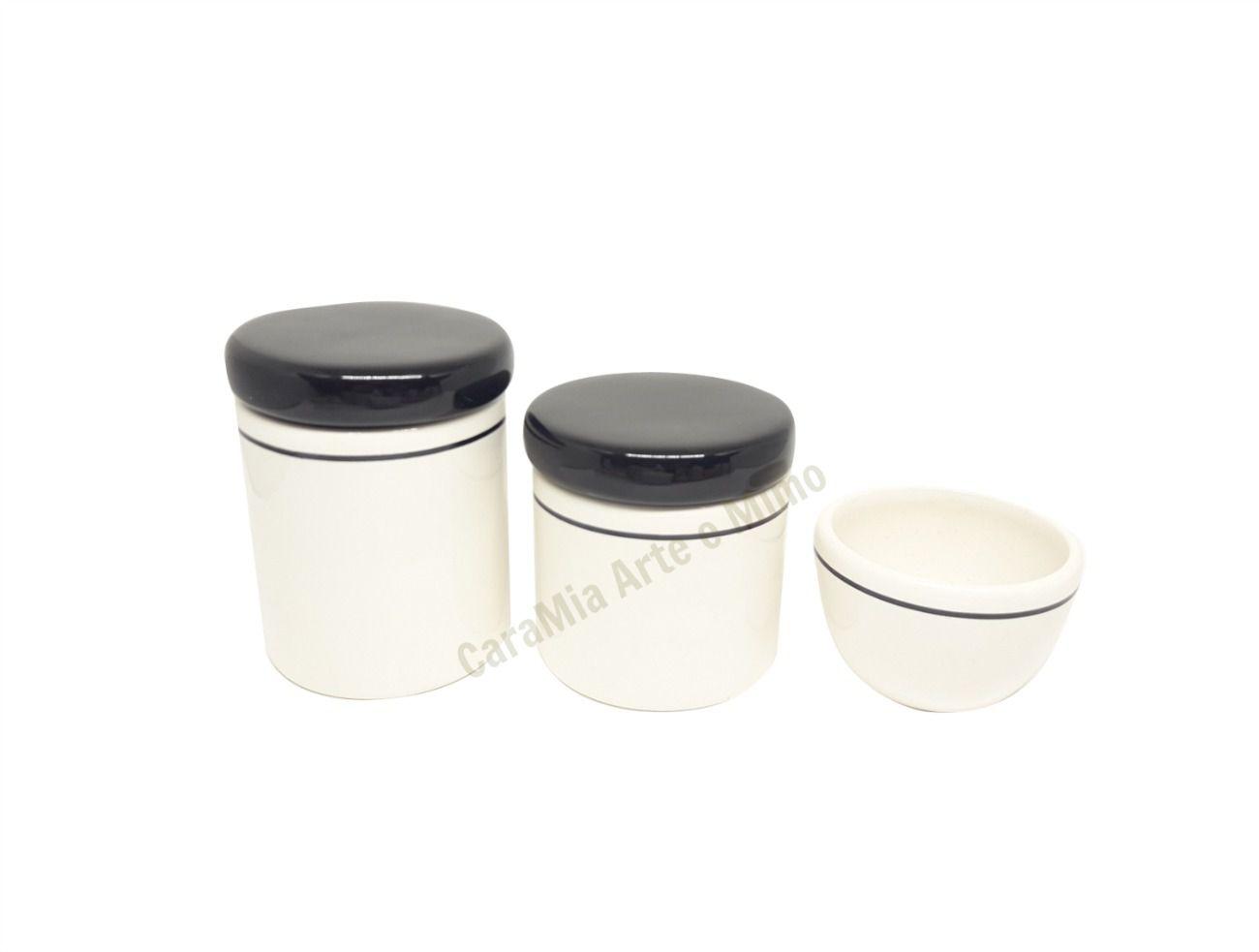 Kit Higiene Bebê em Cerâmica | Branco e Preto | 3 peças