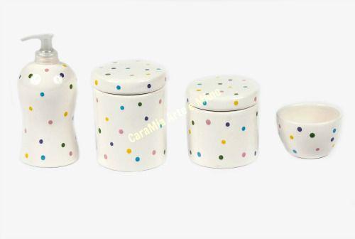 Kit Higiene Bebê em Cerâmica |Poá Colorido| 4 peças