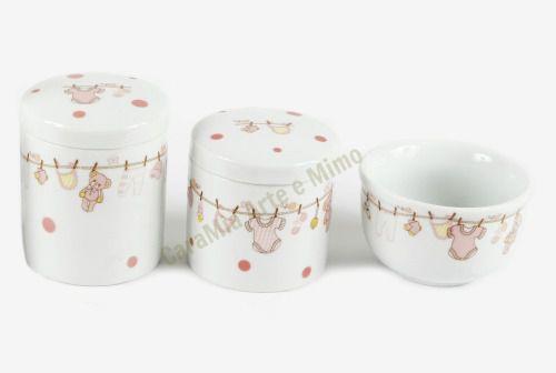 Kit Higiene Bebê em Porcelana | 3 peças| Varalzinho Rosa com Poá