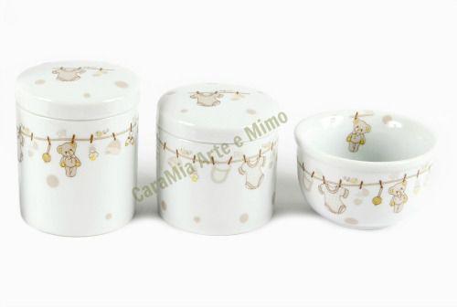 Kit Higiene Bebê Porcelana | 3 peças| Varal Bege com Ursinho