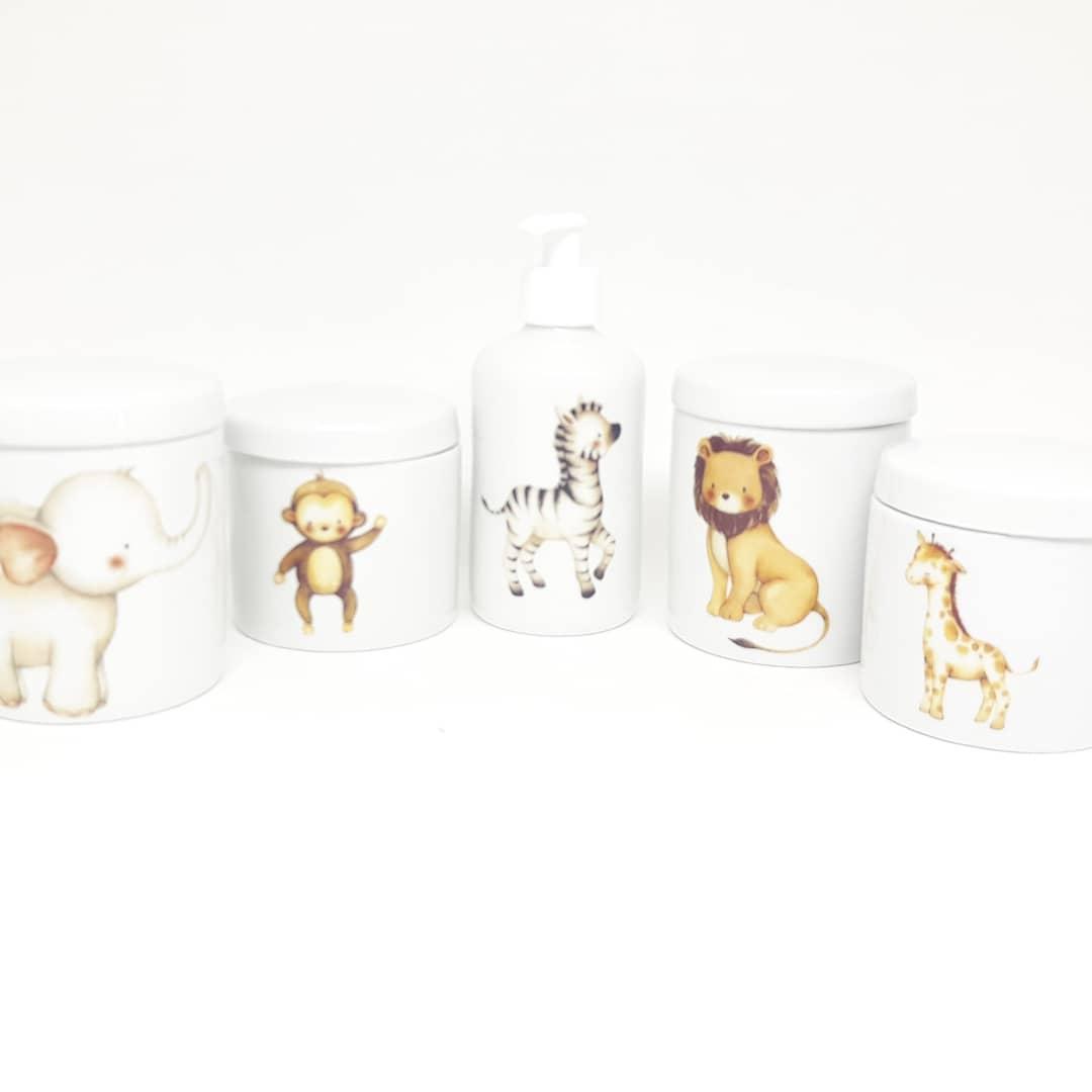 Kit higiene bebê porcelana aquarelado safari bichinhos selva floresta