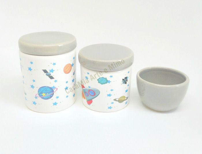 Kit Higiene Bebê Porcelana |Astronauta no Espaço Cinza| 3 peças