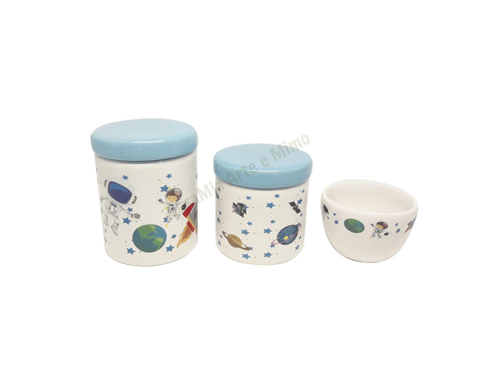Kit Higiene Bebê Porcelana | Astronauta | Planetas | Espaço | Azul