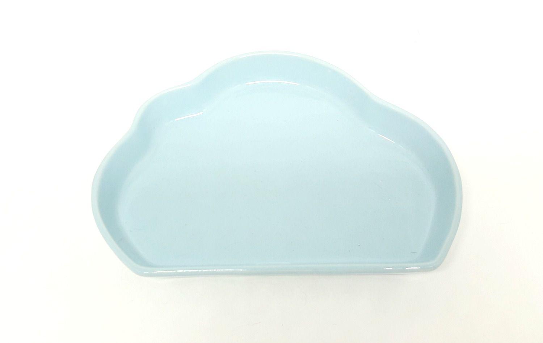 Kit Higiene Bebê Porcelana Balão Azul e Cinza |Bandeja Azul em Nuvem