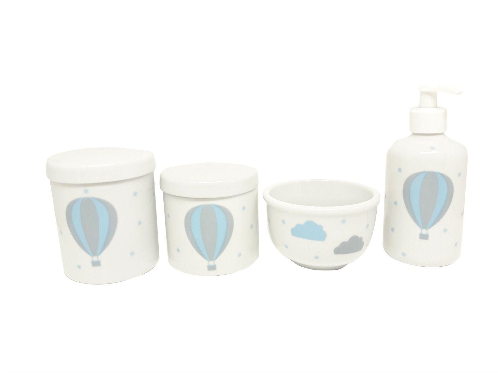 Kit Higiene Bebê Porcelana Balão Azul e Cinza   Nuvem   4 peças  