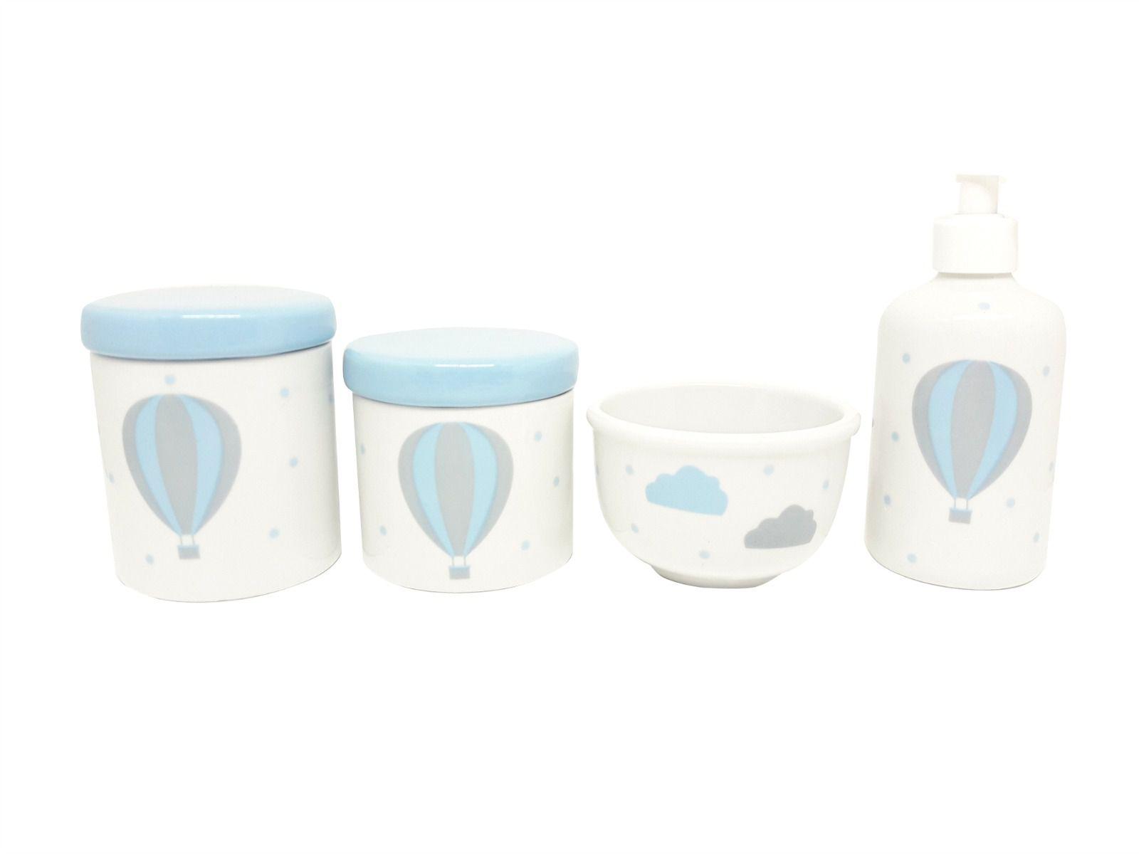 Kit Higiene Bebê Porcelana Balão Azul e Cinza | Nuvem | 4 peças | Tampas Azuis