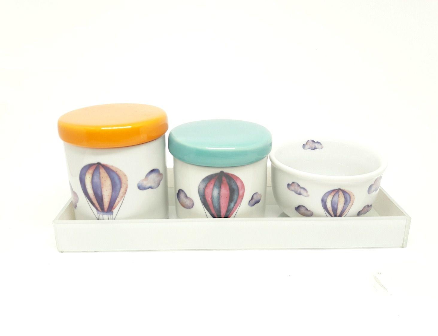 Kit Higiene Bebê Porcelana |Balão, Balões, Nuvem | 3 peças