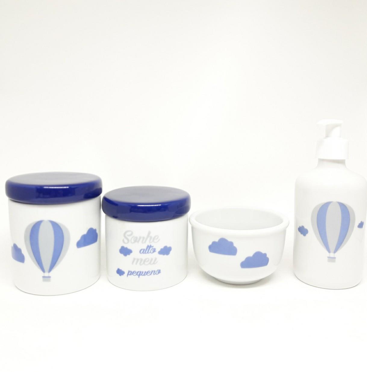 Kit Higiene Bebê Porcelana Balão com tampas marinho 4 peças