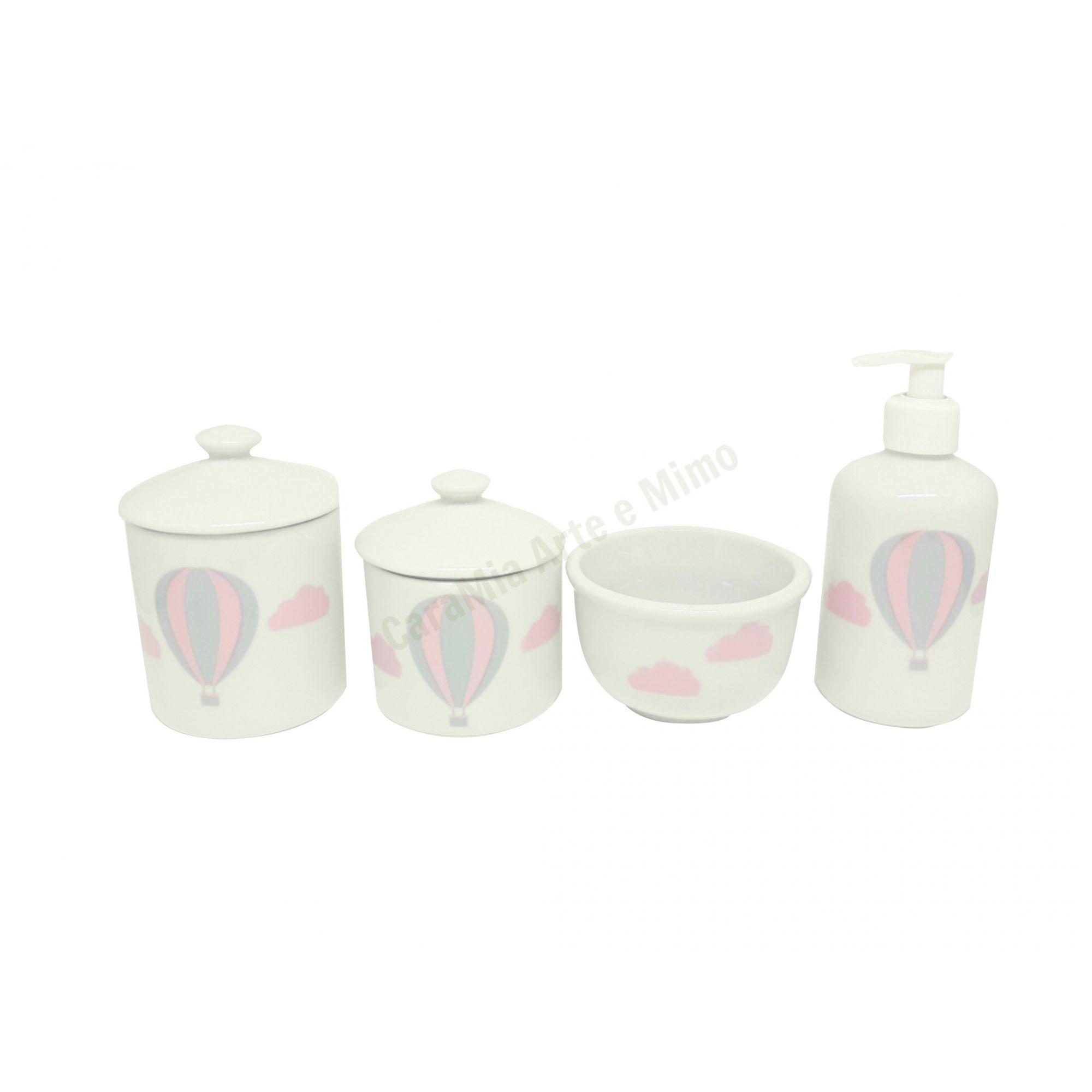 Kit Higiene Bebê Porcelana Balão E Nuvem Rosa |4 peças