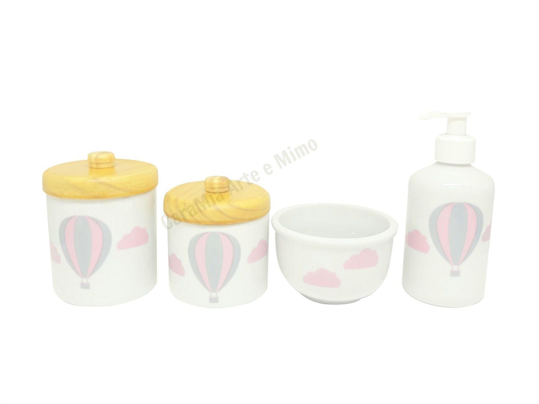 Kit Higiene Bebê Porcelana Balão Rosa e Cinza | Nuvem | 4 peças | Tampas Pinus