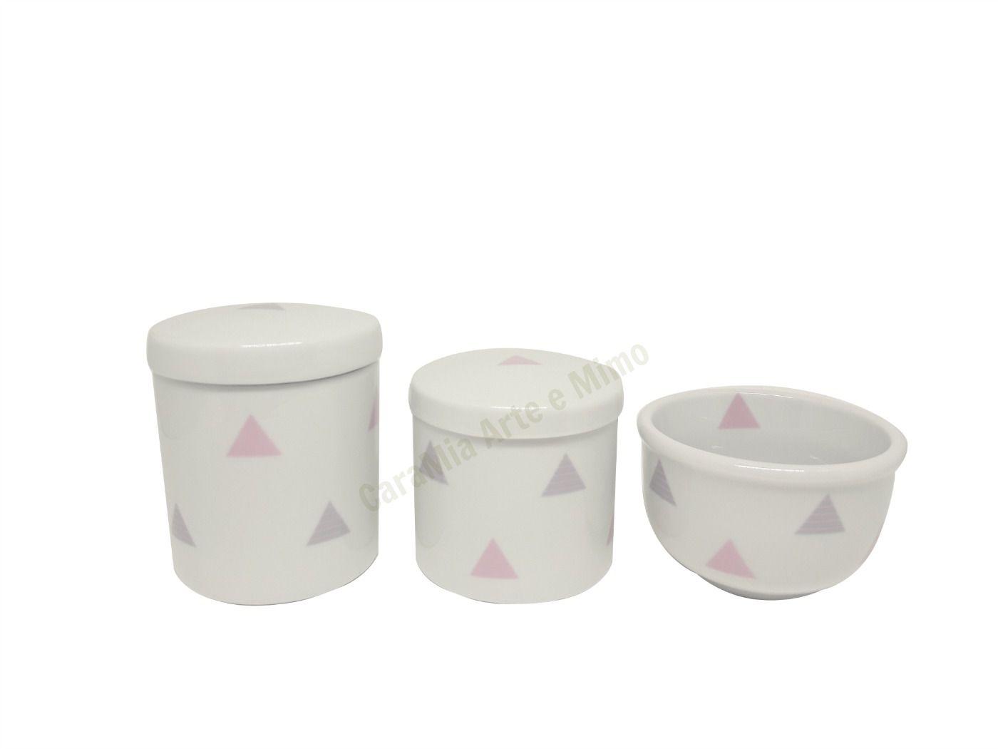 Kit Higiene Bebê Porcelana Bandeirinhas Rosas e Cinzas & Triângulos |Geométrico |