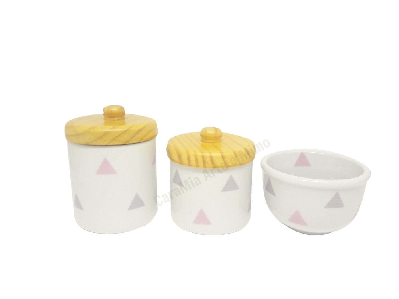 Kit Higiene Bebê Porcelana Bandeirinhas Rosas e Cinzas & Triângulos |Geométrico | Tampas Pinus