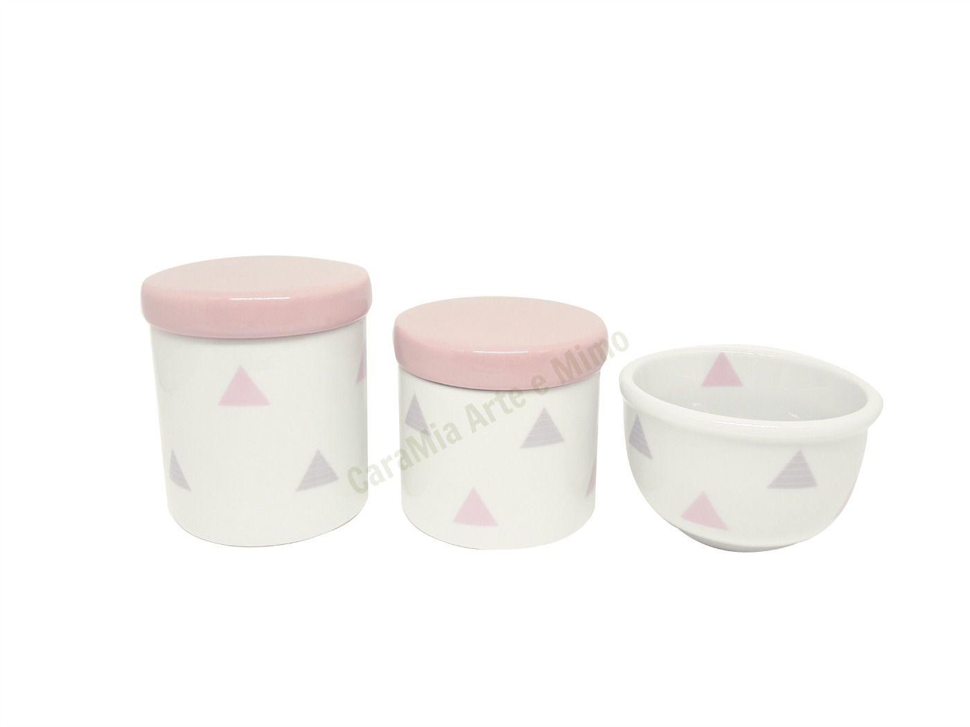 Kit Higiene Bebê Porcelana Bandeirinhas Rosas e Cinzas & Triângulos |Geométrico | Tampas Rosas