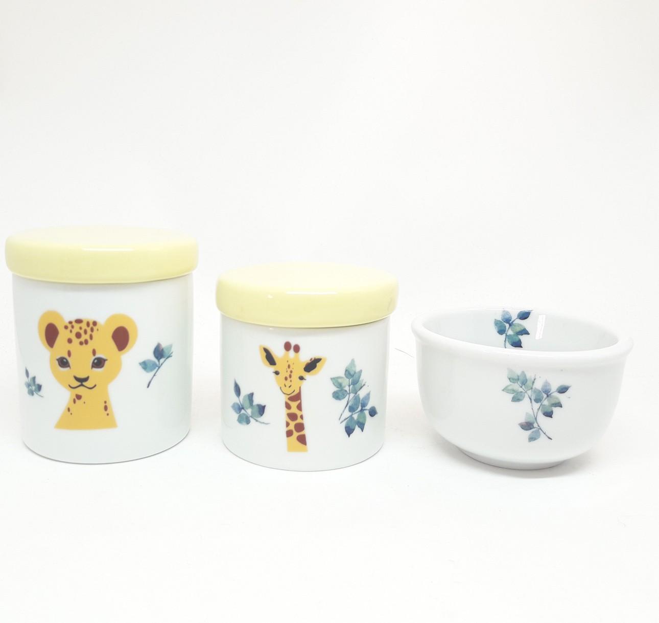 Kit higiene bebê porcelana Bichinhos da Floresta Safari Bichinhos Selva 3 peças