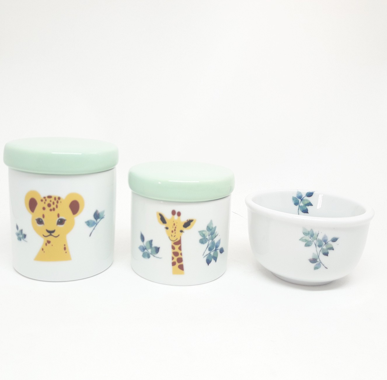 Kit higiene bebê porcelana Bichinhos da Floresta Safari Selva