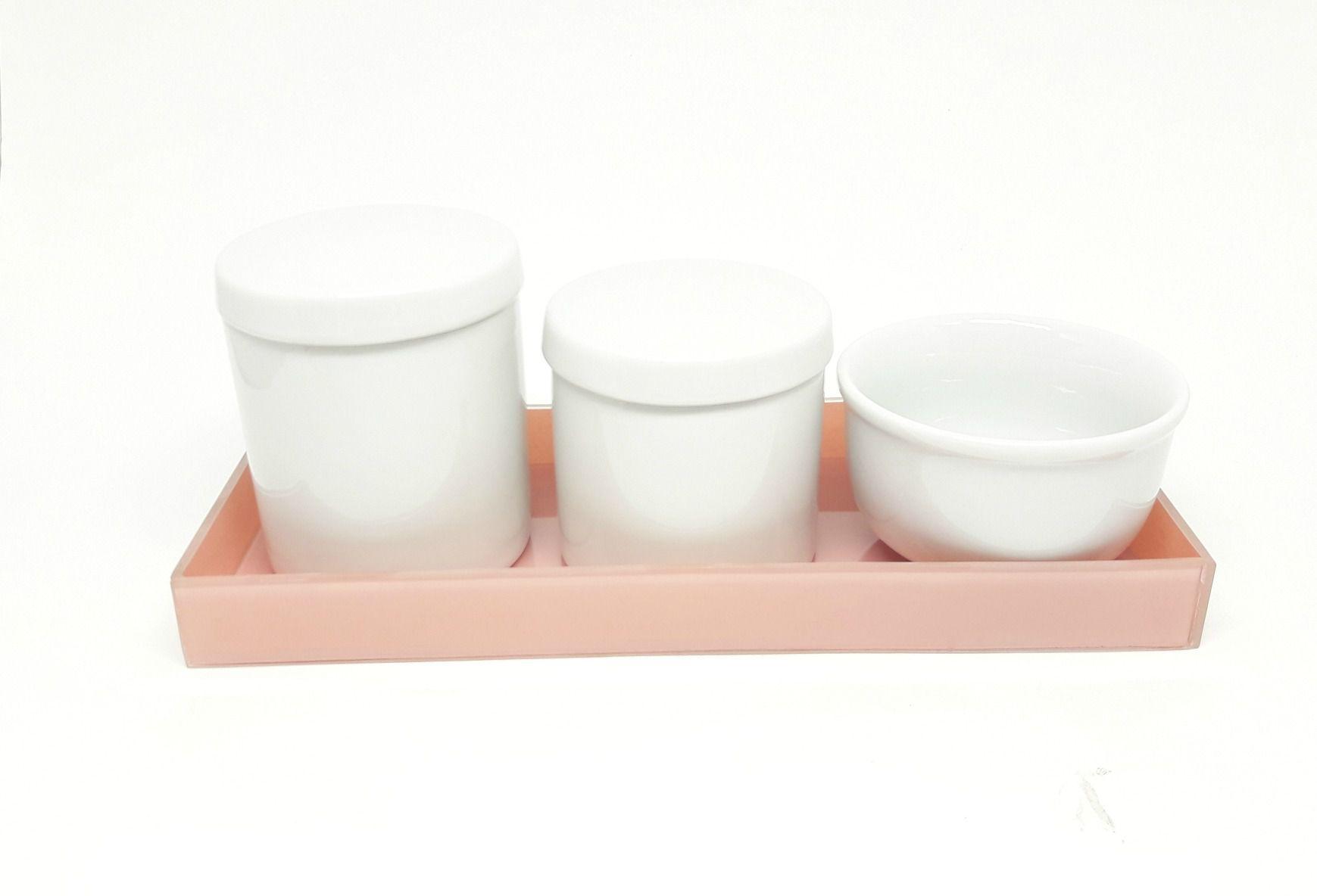Kit Higiene Bebê Porcelana Branca com Bandeja Rosa