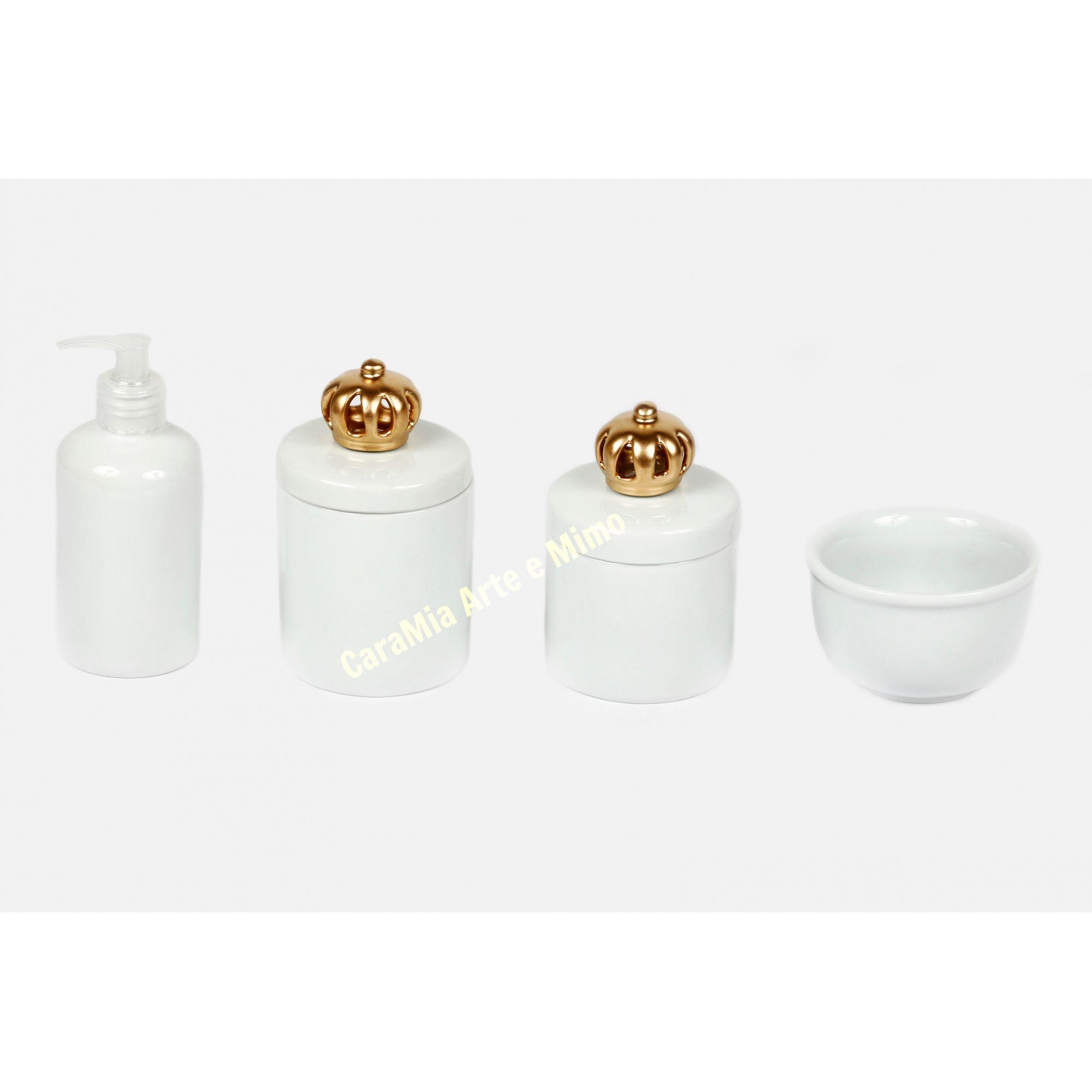 Kit Higiene Bebê Porcelana Branca com Coroa Dourada| 4 peças